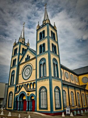 National monument of Suriname - Saint Peter and Paul Cathedral. Fort Zeelandia  and Neveh Shalom Jewish Synagogue.