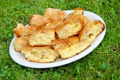National Dish of Serbia - Gibanica (an egg and cheese pie made with filo dough), pljeskavica (a ground beef)